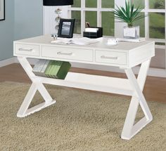 Amazon.com - Home Office Desk with Triangular Legs in White Finish - White Lacquer Desk