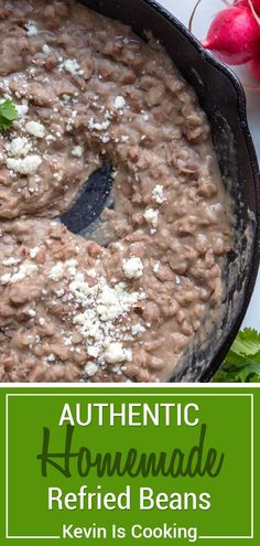 My Authentic Refried Beans are a staple for any Mexican meal, need no pre-soaking, are creamy, well seasoned and I share with you my secret flavor weapon. via food Authentic Refried Beans Authentic Mexican Recipes, Mexican Food Recipes, Authentic Mexican Refried Beans Recipe, Mexican Beans Recipe, Mexican Desserts, Bean Recipes, Gourmet Recipes, Cooking Recipes, Cooking Food