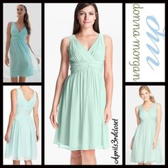 "Donna Morgan Party Dress Cocktail Pastel NEW WITH TAGS  RETAIL PRICE: $189   Donna Morgan Chiffon Party Dress Vintage Retro Style   * Fit-and-flare style w/back zipper closure  * Twisted waistband   * Subtle pleated details, wide tank straps.   * Measures about 40"" long; fully lined, tagged size 14 (L), will fit sizes 12-14.   Fabric: Polyester, Nylon & 5% Spandex 123900 Color: Pastel Mint   No Trades ✅ Offers Considered*/Bundle Discounts✅  *Please use the 'offer' button to submit an offer…"