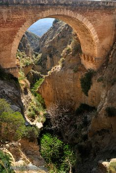 *GRANADA, SPAIN ~ Puente de Tablate (Valle de Lecrín): Three bridges cross the ravine of Tablate, this is the middle. Nazari below the bridge and modern bridge over the highway. An emblematic place with history and tradition in the municipality of Pinar in the Lecrin Valley.