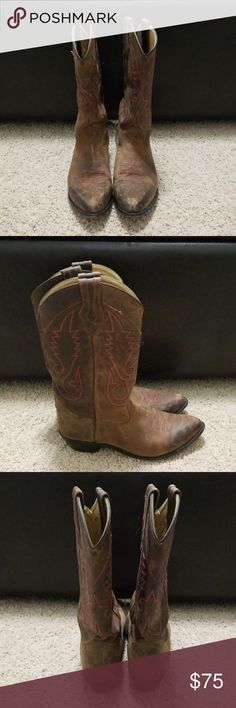 Distressed Women's Western Boots. Only worn for 2 seasons. They have a lot of life left in them. They are a size 8 but if you're a size 7.5 you would still be able to wear them too. Pictures of distressed toes included. These are nice leather boots made by Smokey Moutain Boots. Bought on Sale for $129. Smokey Mountain Boots Shoes Winter & Rain Boots
