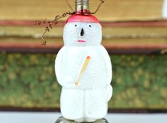 Snowman Ornament, Vintage Christmas, hastypearl, Christmas Tree, Vintage Light Bulb, Glass Ornament, Baseball Ornament, Vintage Baseball by hastypearl on Etsy https://www.etsy.com/listing/172134023/snowman-ornament-vintage-christmas
