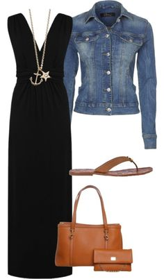 Black maxi dress outfit with denim jacket, brown tan handbag purse, brown shoes sandals
