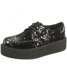 c5c03168eba9f3 Shoes Viva High Sole Creeper Black Suede White Spatter Paint - Image 1 of 1
