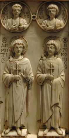 Harbaville Triptych. Left to right: St. Demetrius and St. Procopius. In the roundels, St. Philip the Apostle and St Pantaleimon. Harbaville Triptych: close-up on the bottom panel of the right leaf, recto - circa 950. Ivory, traces of polychromy. Louvre Museum