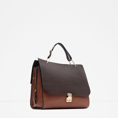 Image 3 of COMBINED LEATHER CITY BAG from Zara