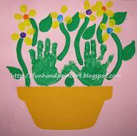 handprint crafts with kids--flower pot