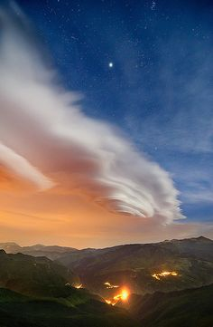 Lenticular Clouds, Moon & Stars
