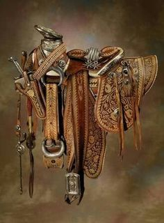 Ornate Mexican Saddle with Headstall, Bit, Spurs, Chaps, Sword with Scabbard… Western Horse Tack, Cowboy Horse, Cowboy And Cowgirl, Western Saddles, Leather Art, Custom Leather, Leather Tooling, Looks Country, Cowboy Gear