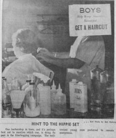 "Dec. 18, 1967 - A barbershop in Wausau gives a ""hint to the hippie set."""