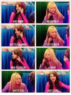 """Back then """"Omg Selena Hannah is the best"""" Now """"Omg Hannah Selena is so much better than you"""" << it's mikayla not selena"""