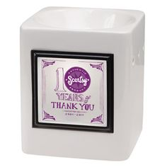 The #Scentsy warmer of the month is our THANK YOU WARMER! Buy this and get another warmer #free #wicklessmolly.  Commemorate a decade of Scentsy style with the simple and smooth Sleek White Warmer � a perfect backdrop to our custom 10-year anniversary Thank You Frame.�