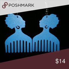 Jewelry Blue wooden earrings Jewelry Earrings