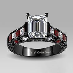 A Perfect 2.3CT Emerald Cut Russian lab Diamond with Red & White Baguettes and a Black Gold Setting - Ring Box - Free Shipping Worldwide Russian Lab diamonds are grown by a proprietary process that re