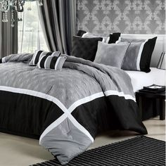 Quincy Comforter Set - Black, White & Grey