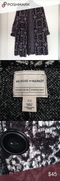 """Long Boho sweater coat cardigan Super soft and warm Melrose and Market sweater coat. Very boho chic (think MK Olsen/ Nicole Ritchie) and soft. One middle button. Navy blue/light blue/white pattern. Hits mid-thigh (I'm 5'4"""") melrose and market Sweaters Cardigans"""