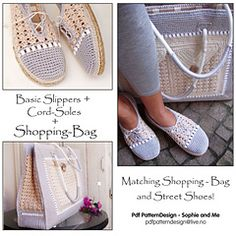 Ravelry: E-Book 3in1 PatternPack - Shopping Bag + Basic Pearl-Slippers + Cord-Sole-Tutorial - patterns