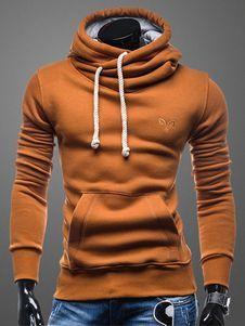 Sudadera con capucha de algodón mezclado Color liso Encapuchada estilo atlético