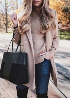 38 Inspiring Women Khaki Sweater Outfit Ideas Best For Fall And Winter Season - Because those long summer days are rapidly offering approach to cool fall nights does not have to imply that your whole summer closet has seen its las. Stylish Winter Outfits, Fall Winter Outfits, Winter Fashion, Casual Outfits, Fashion Outfits, Womens Fashion, 2000s Fashion, Fashion 2018, Fashion Boots