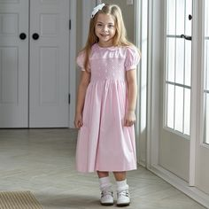 Girls Light Pink Collared Smocked Sash Dress – Lolly Wolly Doodle