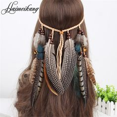 Indian Bead Feather Headband