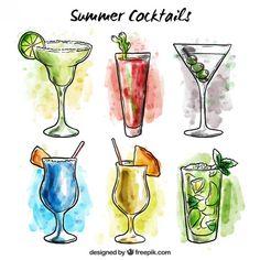 desenhado mão amável da aguarela de bebidas de verão Vetor grátis