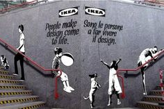 Banksy and Obey inspired stenciled-posters over IKEA ads used to promote Milan Design Week 2012