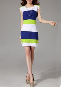 Multicolor Patchwork Striped Dress - So pretty...I can make this!