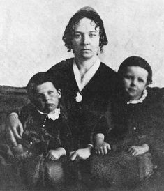 Elizabeth Cady Stanton - (social activist, abolitionist, suffragist, organizer of the 1848 Women's Rights Convention, co-founder of the National Woman Suffrage Association and the International Council of Women) in 1848 with two of her three sons.