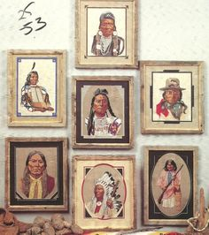 Digital Book of 7 Embroidery Needlepoint Cross Stitch American Indian Warrior Chiefs Patterns