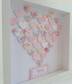 Personalised Girl& Framed Paper Art Picture Keepsake : Heart of Hearts. Unique handmade gift for little girl or precious friend Box Frame Art, Box Frames, Heart Crafts, Baby Crafts, Button Art, Button Crafts, Hobbies And Crafts, Crafts To Make, Homemade Gifts