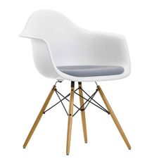 This is the upholstered version of the Vitra Eames DAW Chair with its maple 'Eiffel Tower' leg base. In various seat shell colours the Hopsak fabric upholstery can be selected for just the seat pad or the whole chair.