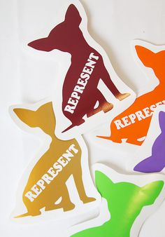 Represent Chihuahua Dog Roller Derby Helmet Vinyl Sticker / Vinyl Decal on Etsy, $3.75
