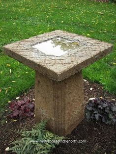Tim Boebel's work with growing Hydrangeas and Lotus in Northern climates. Concrete Bird Bath, Concrete Garden, Concrete Planters, Concrete Crafts, Concrete Projects, Bird Bath Garden, Garden Pots, Garden Crafts, Garden Projects