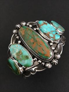 Rare Native American Sterling Silver Royston Turquoise Aaron Toadlena