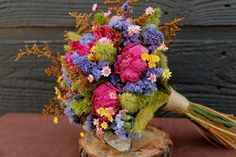 Wedding Bouquet, Country Meadow Bridal Bouquet and Boutonniere Set with Dark Pink Peonies and Rustic Dried Flowers, Groom, Bridal Bouquet
