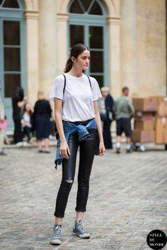white tee & skinnies. #MonikaJablonczky #offduty in Paris.