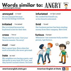 """hellolearnenglishwithantriparto: """" languageboutique: """" Hopefully nobody is angry today!! """" Words similar to ANGRY #learnenglish """""""