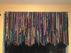 Beautiful strands of bohemian style fabric Rag Curtains, Bohemian Curtains, Hanging Curtains, Hippie Bohemian, Bohemian Decor, Bohemian Style, Hippie Crafts, Thread Up, Couch Covers