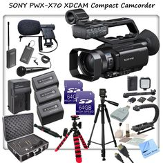 Sony PXW-X70 Professional XDCAM Compact Camcorder w/ CS Interview/Documentary Kit: Includes 3 Long Life Sony NP-FV100 Replacement Batteries, Rapid Travel Charger With Car Adapter & Euro Plugs, Stabilizing Handle/Grip, Wireless Lapel & Handheld Mic System, Boom Microphone, LED Video Light With 2 Lith