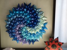 Cool modular origami from the CDO Convention Photo by IlseZ Origami Wall Art, Origami Quilt, Origami Lamp, Origami Paper Art, Foam Crafts, Crafts To Make, Arts And Crafts, Paper Crafts, Diy Crafts