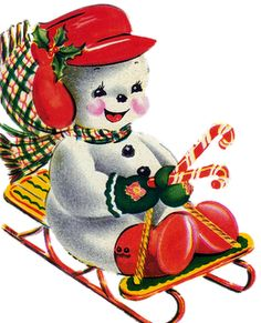 Vintage Christmas card - snowman on sled