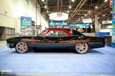 """Winner of the GM Design Award for Classic of the Year at the 2016 SEMA Show, Tom's '67 """"Onyx"""" Chevelle was built by Roadster Shop. Its powered by a 850HP Whipple-supercharged Chevrolet Performance LS3 and sports the Forgeline Flush-Loc centerlock conversion kit (with a custom knock-off style center nut), and 19x9.5/20x12 Forgeline RS6 wheels finished with Titanium centers & Polished outers! See more at: http://www.forgeline.com/customer_gallery_view.php?cvk=1799  Photo courtesy of The…"""