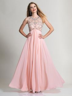 A-Line/Princess Sheer Neck Sleeveless Chiffon Beading Floor-Length Dresses