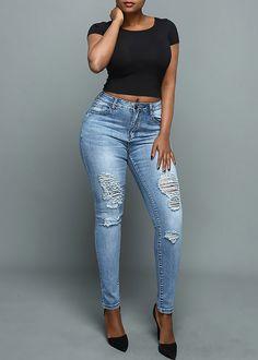 Compre Calça Jeans Skinny Cintura Alta Rasgada Azul | UFashionShop