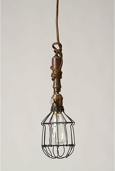 Steel and wood vintage style pendant light from Anthropologie