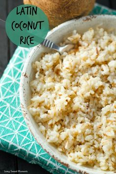Colombian Coconut Rice: this latin rice is bursting with flavor and texture. A sweet and salty side dish that is ready in minutes. Perfect for weeknights.