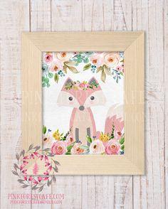 Boho Floral Fox Woodland Printable Print Wall Art Watercolor Baby Nursery Home Decor