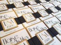 Black & Gold Gatsby themed Glitter Invitation Bundles