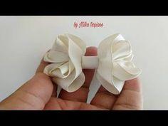 Laçarote Cachinhos Encantados - YouTube Ribbon Art, Diy Ribbon, Ribbon Crafts, Ribbon Bows, Crochet Baby Hat Patterns, Crochet Baby Hats, Hair Ribbons, Diy Hair Bows, Bow Template